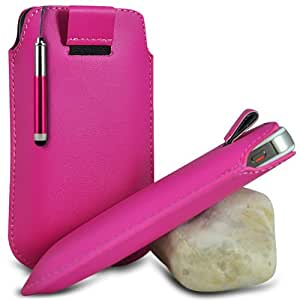 Hot Pink Premium PU Leather Pull tab Protective Grip Soft Slip Slide in Pouch Skin Case Cover With High Sensitivity Capacitive Retractable Touch Stylus Pen For HTC DESIRE C (S) Mobile Cellular Phone