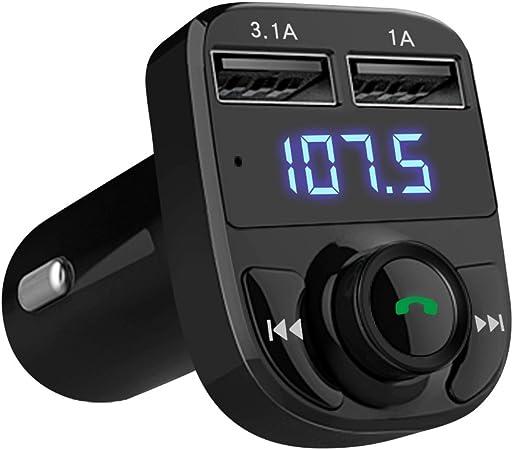 GRK Nuevo Transmisor FM Multi Función Bluetooth V4.0 Radio inalámbrico, manos libres,con puertos doble usb y tarjeta Micro SD, carga rápida ...