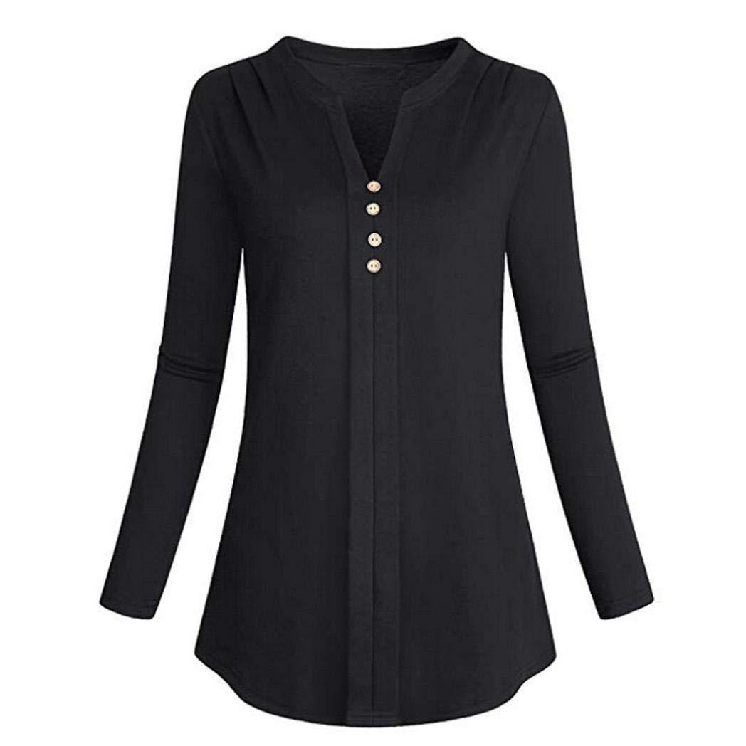 ❤ Camiseta para Mujer Talla Grande, Blusa sólida con Cuello en V de Manga Larga de Moda Absolute: Amazon.es: Ropa y accesorios