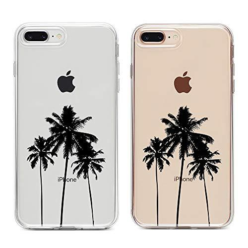 uCOLOR Clear Case Compatible iPhone 7 Plus 8/ Plus,iPhone 6s Plus/6 Plus Slim Case Palm Tree Transparent Protective Soft TPU Bumper+Hard PC Back Cover for iPhone 7 Plus/8 Plus/6S Plus/6 Plus (5.5