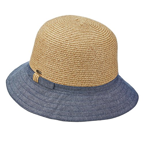 SCALA COLLEZIONE PAPER BRAID CANVAS CLOCHE BUCKET SUN HAT UPF50+ LP245 (DENIM) (Hat Scala Canvas)