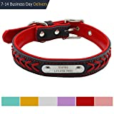 Vcalabashor™ Custom Leather Dog Collar / Braided Genuine Leather Name Plated Dog Collars for Small Medium Large / Personalized Engraved On Collar Pet ID Tags / Red & Black / XS S M L