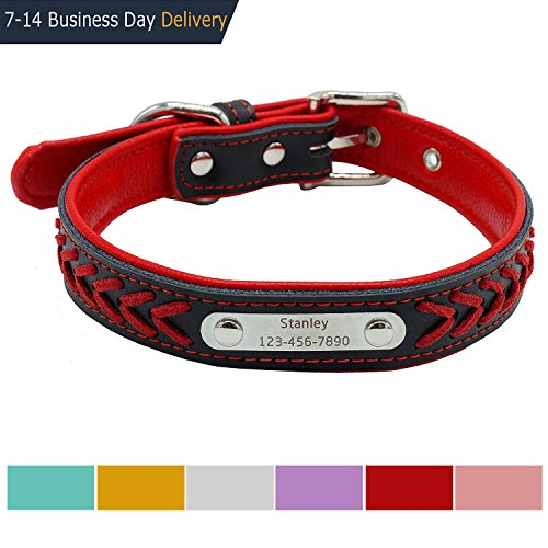 Vcalabashor™ Custom Leather Dog Collar / Braided Genuine Leather Name Plated Dog Collars for Small Medium Large / Personalized Engraved On Collar Pet ID Tags / Red & Black / XS S M - Dog Tag Red