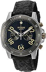Nixon  Men's Ranger Chrono Leather Black/Brass Watch