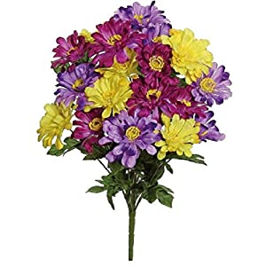 "Select Artificials Zinnia Bush X14, 24""; Purple Mixed (M3413-PUMIX) 105"