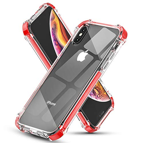 EFFENX iPhone Xs Max Case Clear Soft TPU Thin Cover with Shockproof Bumper Protective Case for iPhone Xs Max 6.5'' (Red) ()