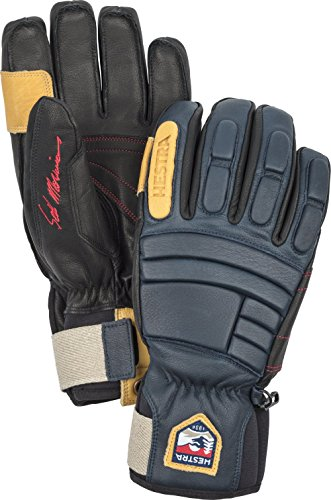 Hestra Waterproof Ski Gloves: Mens and Womens Pro Model Leather Winter Gloves, Navy, 10