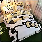 Peachy Baby Featuring Hello Kitty 100% Cotton Bedding Sheet Set 3 and 4 Pieces Single Queen King Size Pink Cute Cartoon Animate Girly (Queen)