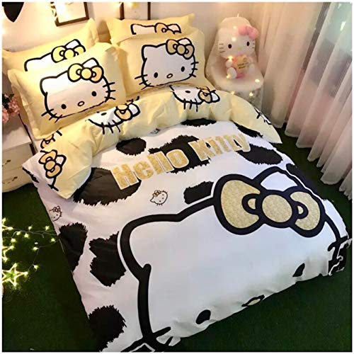 Peachy Baby Featuring Hello Kitty 100% Cotton Bedding Sheet Set 3 and 4 Pieces Single Queen King Size Pink Cute Cartoon Animate Girly (Queen) (Hello Kitty Queen Size Bed Set)