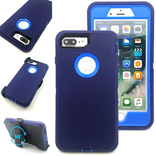 iPhone 7 Plus Case,Vodico Heavy Duty Rugged Multi-Layer Hybrid Protective Shockproof Defender Armor Case Cover with Belt Clip and Built-in Screen Protector for iPhone 7 Plus (Navy Blue)