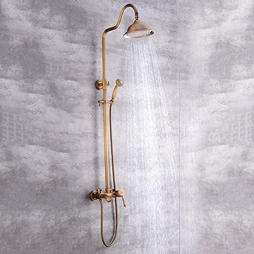 HYBJP 浴室のシャワーセットの銅アンティークブロンズハンドヘルドブースターシャワーシステムラウンドトップは蛇口付き3機能をスプレー