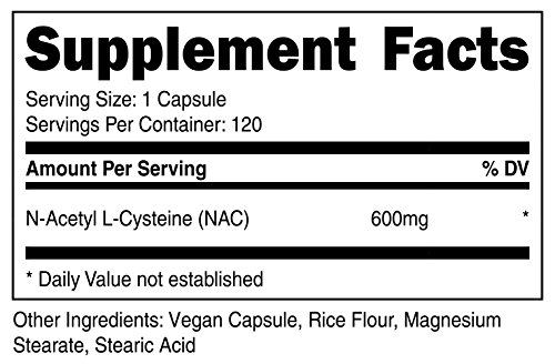 Nutricost N-Acetyl L-Cysteine (NAC) 600mg, 120 Veggie Capsules - Non-GMO, Gluten Free, Vegetable Caps by Nutricost (Image #1)