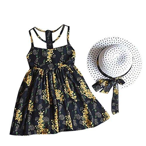 Halter Dress Hat (Fabal 2PCS Toddler Kids Baby Girl Outfit Clothes Chiffon Floral Vest Dress Sun Hat Set (6T, Black))