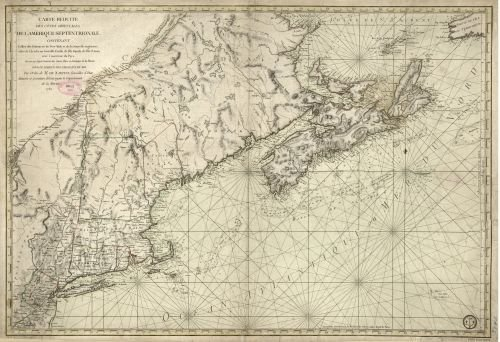1780 Map Carte réduite des côtes orientales de l'Amérique septentrionale. Contenant celles des provinces de New-York et de la Nouvelle Angleterre,celles de l'Acadie ou Nouvelle Ecosse,de I'Île Ro
