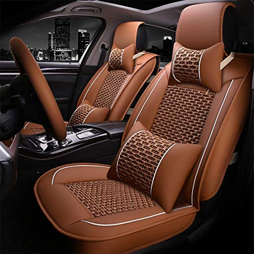 LNDDP Full set of universal five seats - Summer New Ice Silk Car Seat - 3D Breathable Ice Silk + Leather - Front And Rear 5 Seats Full Set,Orange: Amazon.co.uk: Sports & Outdoors