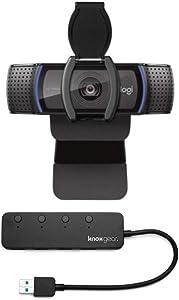 Logitech C920S HD Pro Webcam with Privacy Shutter Bundled with Knox Gear 4-Port 3.0 USB Hub (2 Items)