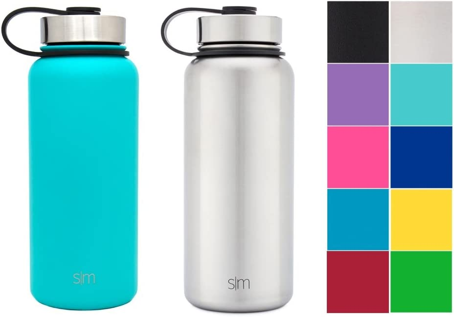 Simple Modern 14 Ounce Summit Water Bottle Travel Mug Stainless Steel Tumbler Flask Wide Mouth Double Wall Vacuum Insulated Pink Leakproof Rose Gold 2 Lids