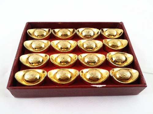 Feng Shui Gold Ingot / Yuan Bao for Wealth Luck (With a Betterdecor Gift (Chinese Ingot)