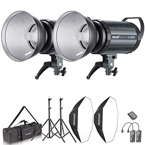 Neewer 800W Photo Studio Strobe Flash and Softbox Lighting Kit: (2)400W Monolight Flash(S-400N),(2)Reflector Bowens Mount,(2)Light Stand,(2)Softbox,(2)Modeling Lamp,(1)RT-16 Wireless Trigger,(1)Bag -