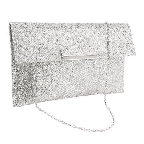The Pecan Man Silver Metal Bar Flap Glitter Shimmer Lurex Women Clutch Soft Shoulder Bag Envelope