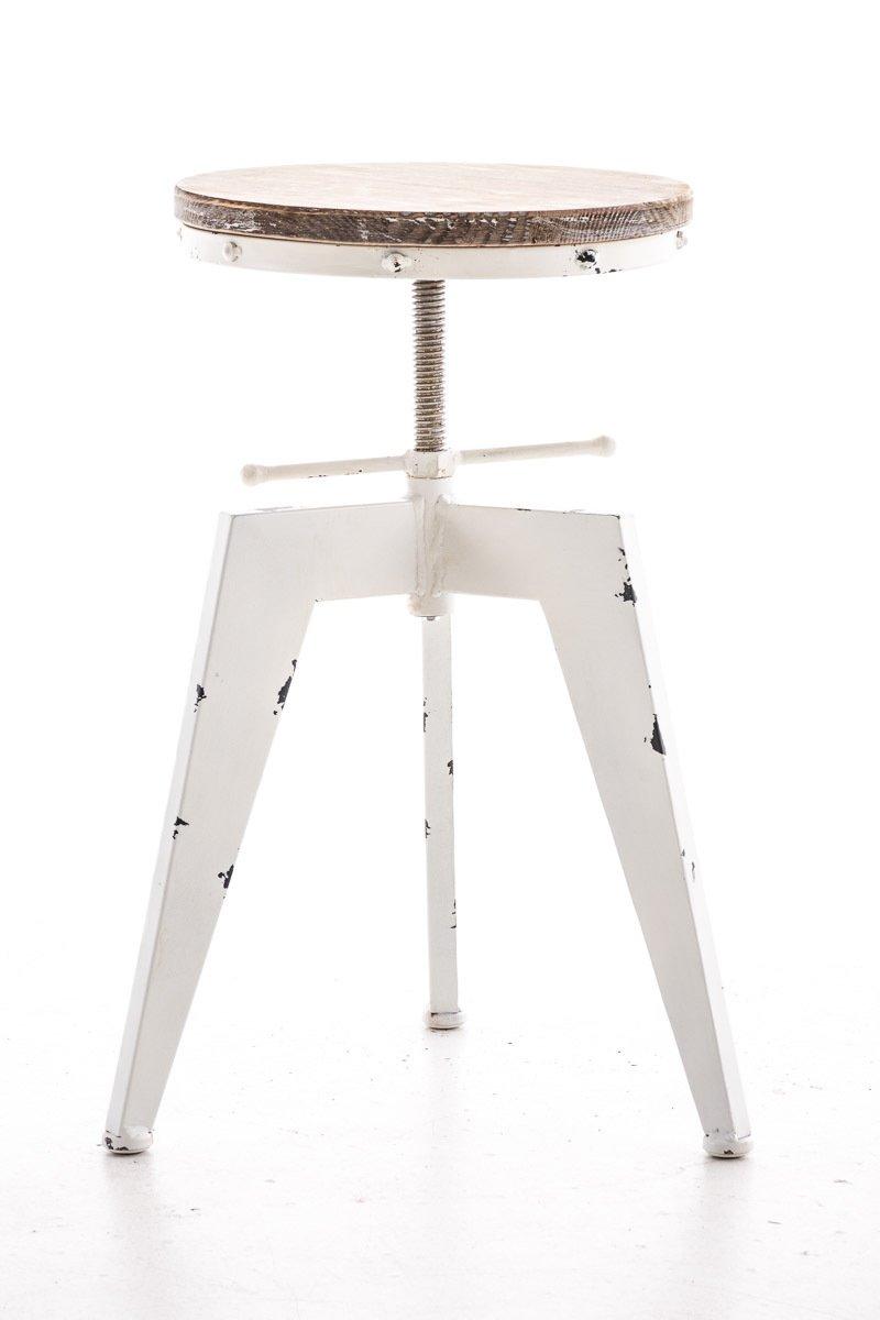 /Ø 33 CM Bianco Antico CLP Sgabello Design Industriale Robot in Metallo E Legno I Sgabello Bancone Bar Stile Urban Ad Altezza Regolabile 48-61 CM