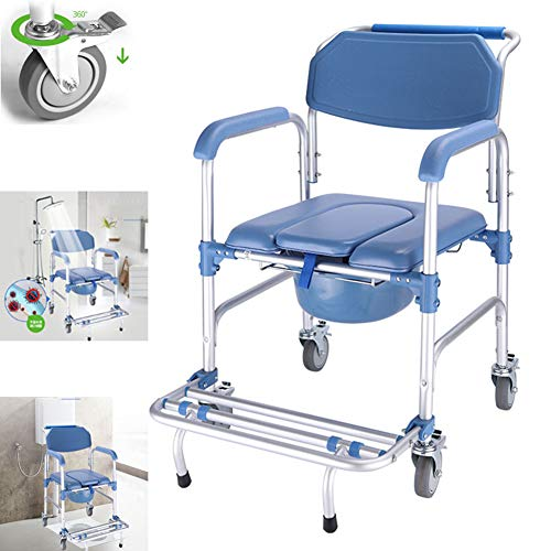 GY-1 4 in 1 Commode Chair/with Wheeled Toilet Chair/Wheelchair Shower Transport Chair /4 Wheel Brakes(360°)/Foldable Mobile Toilet Elderly Disabled Person 250lb ()