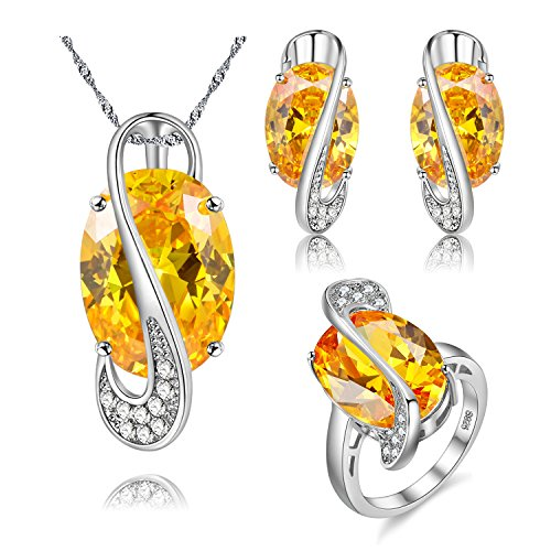 Uloveido Girl's Platinum Plated Oval Shape Yellow Crystal Simulated Citrine Diamond Gemstone Pendant Necklace Halo Rings and Post Stud Earrings Set (Silver, Size 6) Y183 (18k Large Oval Gemstone)