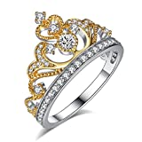 Chic Code Yellow  and  White Gold Plated 925 Sterling Silver Princess Crown Ring - Top Tiara Ring Gift
