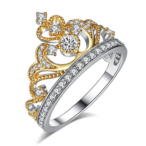 Chic Code Yellow & White Gold Plated 925 Sterling Silver Princess Crown Ring - Top Tiara Ring Gift ()