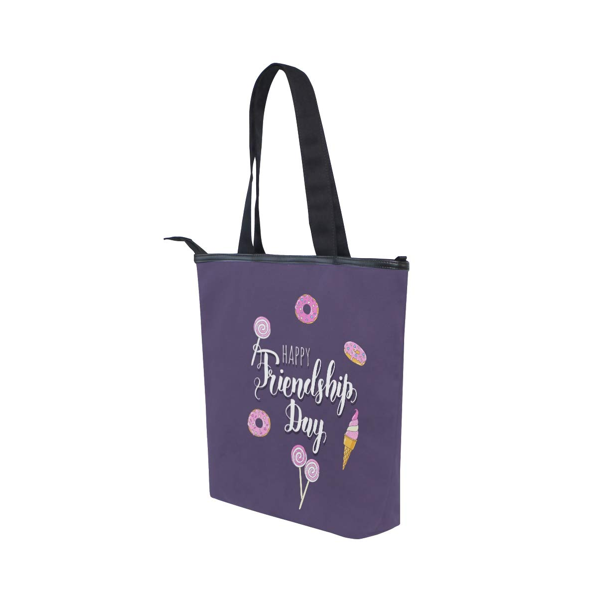 SHANGLONG Womens Happy Friendship Day Canvas Tote For College School Laptop Books Daily Use
