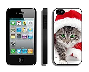 Recommend Christmas Wearing White Fur Lovely Cat Black PC Iphone 6 4.7 Inchs, Iphone 6 4.7 Inch Case