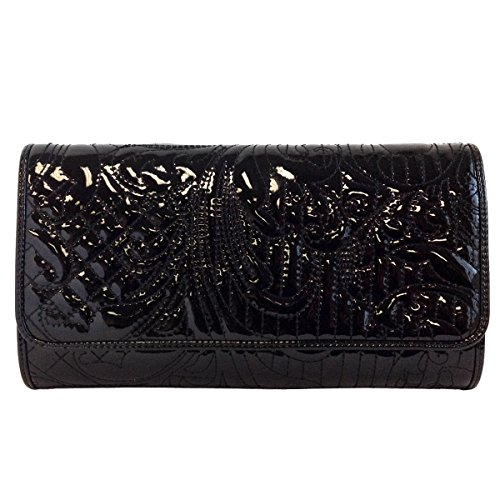 Embroidered-Patent-Leather-Clutch