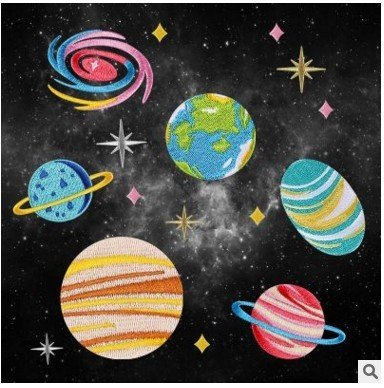 Postage Earth - Free postage Korean version of the Cosmos series embroidery brooch small planet Earth planet star patch holes decorative stickers