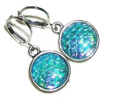 MERMAID EARRINGS Silver Pltd Blue Iridescent MERMAID SCALES Cabochon Drop Dangles