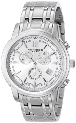 Akribos XXIV Men's AK692SSW Ultimate Swiss Quartz Chronograph Silver Dial Silver-tone Stainless Steel Bracelet Watch