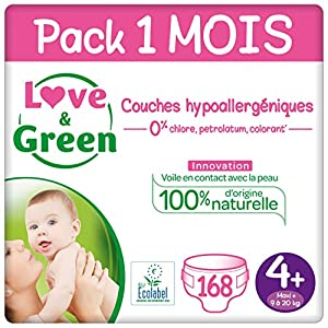 Love & Green Couches Taille 4+ (9-20 Kg) - Pack 1 Mois (168 Couches) 12