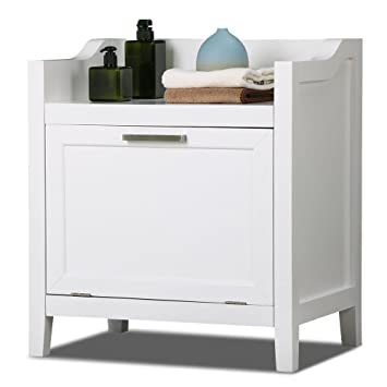 Yaheetech White Laundry Hamper Bathroom Cabinet Storage Bench With Single  Tilt Door