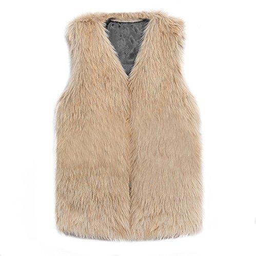Vest Chleco Chaqueta Abrigo Invierno VLUNT Pelo suave Bronceado Mujer Mujer Piel Piel para Sin Chaleco Mangas Mangas Fur Mujer Chaleco Sin tw4pUqcC