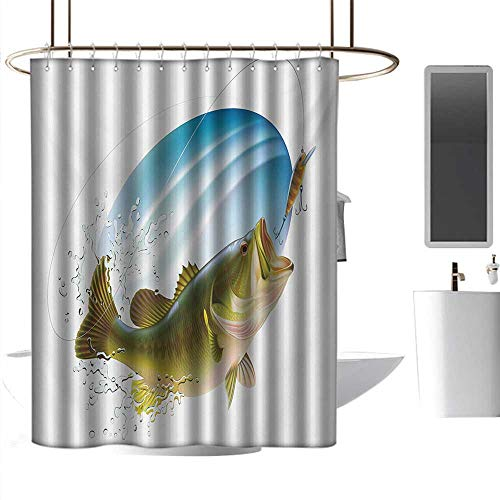 (Shower Curtain Fishing,Largemouth Sea Bass Catching a Bite in Water Spray Motion Splashing Wild Image,Green Blue Hanging Curtain Home Decoration W48 x L84)