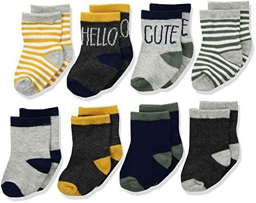 Gerber Baby Boys 8-Pair Wiggle Proof Sock, Hello/Cute, 0-6 Months