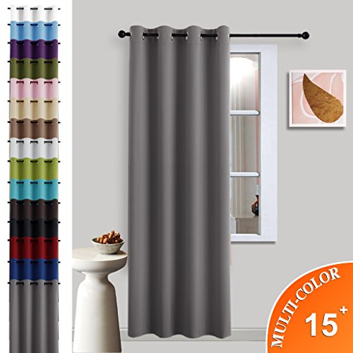 Bedroom Blackout Curtain Window treatment - (Grey Color) Home Decoration Thermal Insulated Room Darkening Drapes / Drapery by NICETOWN, W52 x L95 Inch, 8 Grommets / Rings Top, 1 Panel