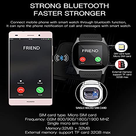 LUCKY ® Nuevo T8 Bluetooth Smart Watches Apoyo SIM & TF Tarjeta Con Cámara Sync Llamar Mensaje Hombres Mujeres Smartwatch Ver Para Android: Amazon.es: ...
