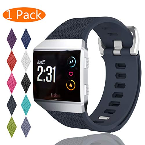 KingAcc Compatible Replacement Bands for Fitbit Ionic, Soft Silicone Fitbit Ionic Band with Metal Buckle Fitness Wristband Strap Women Men (1-Pack, Rock Gray, Large)
