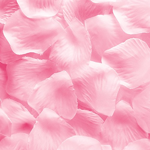 Super Z Outlet Silk Fabric Flower Mini Rose Petals for Weddings (1000 Pieces) (Pink) ()