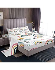 Erosebridal Rainbow Bed Sheets Abstract Rainbow Tie Dye Bedding Colorful Sequins Sheet Set for Girls Women Kids Teens Iridescent Geometric Triangle Fitted Sheet + Flat Sheet + 1 Pillow Case