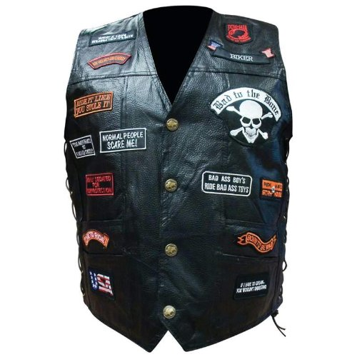 Diamond PlateTM Hand Sewn Pebble Grain Genuine Buffalo Leather Biker Vest with 23 Patches, Size X-Large