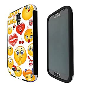 901 - Adult Cool Smiley Faces emoji Funky Design Samsung Galaxy S4 i9500 Full Body CASE With Build in Screen Protector Rubber Defender Shockproof Heavy Duty Builders Protective Cover
