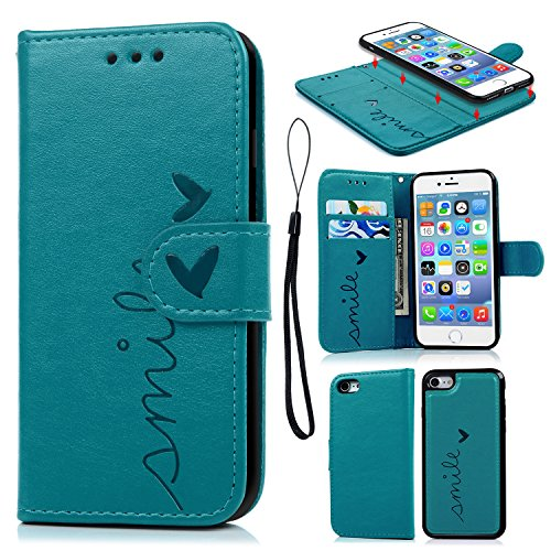 iPhone 7 Wallet Case, iPhone 8 Case Embossed Love PU Leather Case Full Protective Anti-Scratch Resistant Cover Magnetic Case Slot Wrist Strap Case for iPhone 7 & iPhone 8 (Embossed Love)
