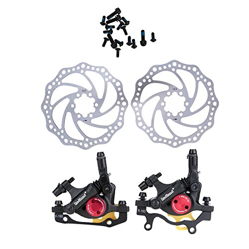 Cable-Actuated Hydraulic Integrated Bicycle Front / Rear Disc Brake Set MTB Mountain Bike 160mm (Black Set) by Unknown