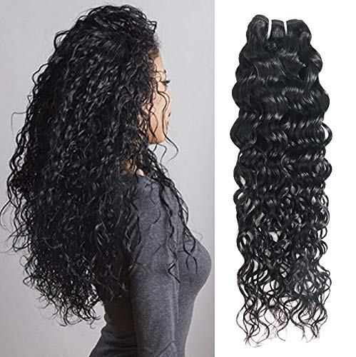 Water Wave Curl 9A 1 Single Bundle Deal Real Virgin Raw Human Hair Unprocessed Double Weft Weave Natural Color (28 Inch)